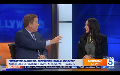 Dr. Cali Estes featured for the 5th time on KTLA TV in Los Angeles for her work with Failure to Launch Syndrome and the adults that won't seen to launch.